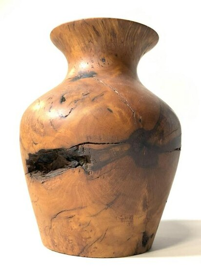 Signed AC Artisan Handcrafted Wooden Tabletop Vase