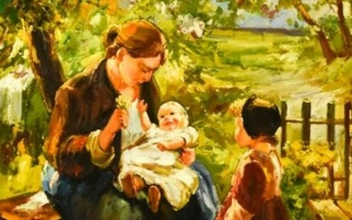 Signed Mother & Children Oil Painting