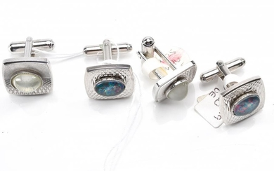 TWO PAIRS OF GEM SET CUFFLINKS IN SILVER TONE SETTINGS