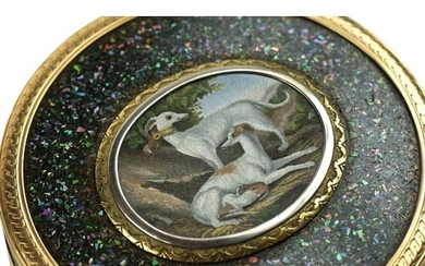Micro Mosaic Snuff Box - This beautiful micro mosaic shows t...