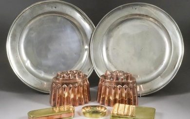 Two Victorian Embossed Copper Oval Jelly Moulds, with reeded...