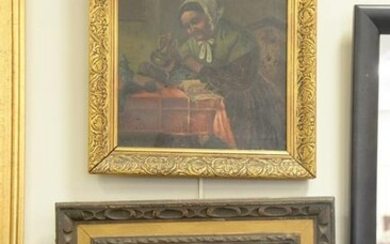 Two piece lot to include 19th C. oil on canvas interior