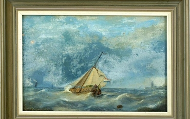 Unclear signed, Dutch cutter on turbulent sea, 1876