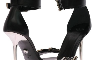 VERSACE black leather sandals with metallic stiletto