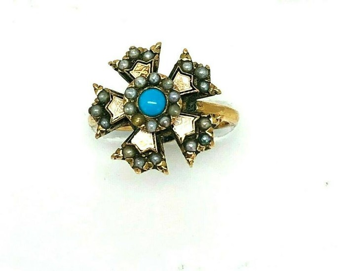 VICTORIAN Pearl Turquoise Enamel Ring