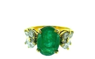 VINTAGE 14k Yellow Gold, Emerald & Diamond Ring Circa