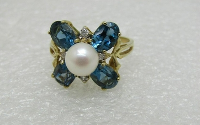 Vintage 10kt Blue Topaz Pearl Diamond Ring, Signed DR