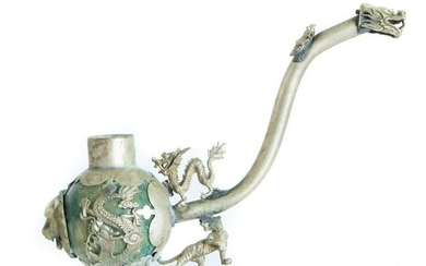 Vintage Chinese Dragon Silver Opium Pipe