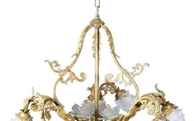 Vintage French Louis XIV Style 9-Light Gilt Chandelier