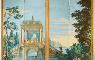 Voyages d'Anthénor, part of the panoramic scenery, Dufour manufacture, circa 1820-1825