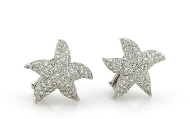 18kt White Gold Pave Diamond Starfish Earrings