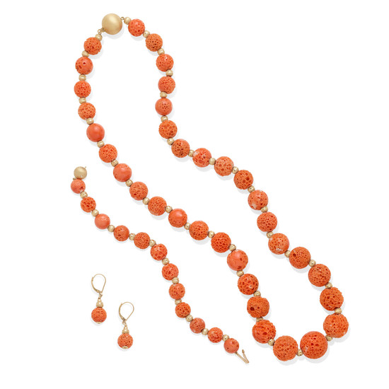 a coral and gold bead necklace, bracelet and ear clips set