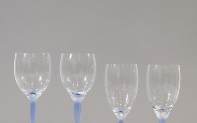 [11] Crystal Glass Wine Glasses with Cobalt Blue Bases
