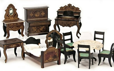 12 pieces, Boulle furniture, living-room and bedroom