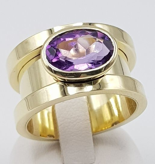 14 kt. Yellow gold - Ring - 3.00 ct Amethyst