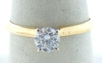 14K GOLD .54ct ROUND DIAMOND SOLITAIRE ENGAGEMENT RING