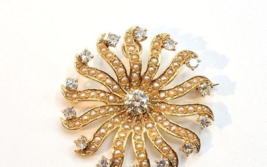 14K Yellow Gold Brooch and Pendant