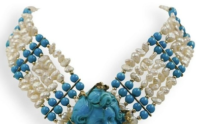 14k Gold and Turquoise Beaded Necklace