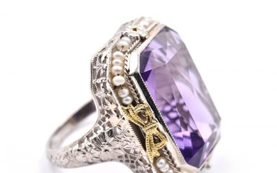 14k White Gold Vintage Art Deco 1920's Amethyst and