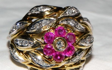 18 kt. Gold - 750 gold floral ring London with diamonds and rubies - Diamonds