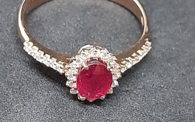 18 kt. Pink gold - Ring Ruby - Diamonds
