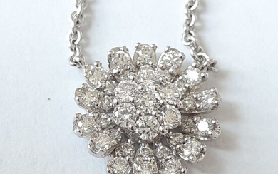 18 kt. White gold - Necklace with pendant Diamond
