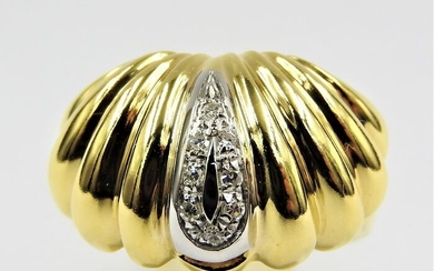 18 kt. White gold, Yellow gold - Ring - 0.10 ct Diamond