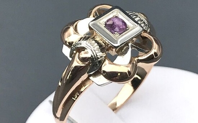 18 kt. White gold, Yellow gold - Ring - 0.13 ct Ruby