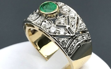 18 kt. White gold, Yellow gold - Ring - 0.70 ct Emerald - Diamonds