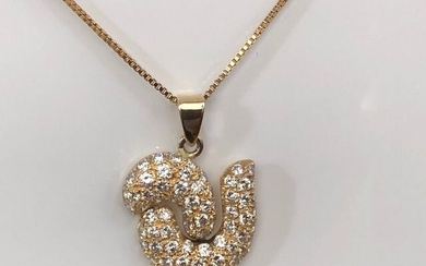 18 kt. Yellow gold - Necklace with pendant - 2.20 ct Diamond