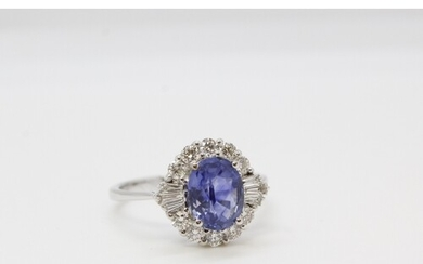 18ct white gold and sapphire diamond cluster ring. Sapphire ...