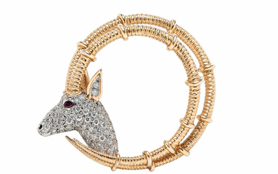 18kt Gold and Diamond Ibex Brooch, Schlumberger, Tiffany & Co.