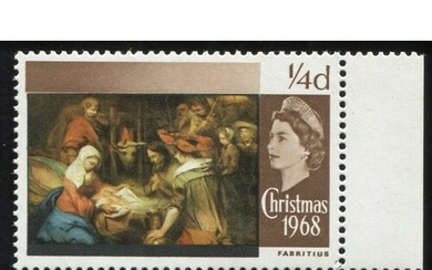1968 Christmas ¼d marginal u/m with 'Gold' omitted. Striking...