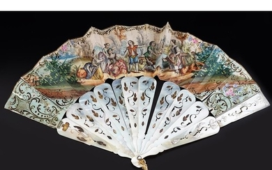 19TH-CENTURY FRENCH MOTHER OF PEARL FAN depicting figures i...