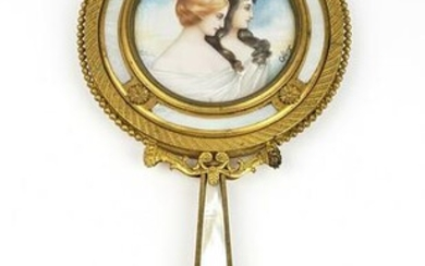 19th C. French Bonze & Mother of Pearl Hand Mirror
