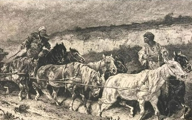 19thc German Etching, On the Road to Wallachia Romania