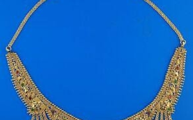 22K YELLOW GOLD GORGEOUS CHOKER NECKLACE COLORFUL