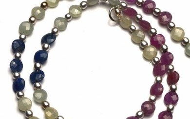 60 ct. Multi-color Sapphire Round Coin Beads Necklace