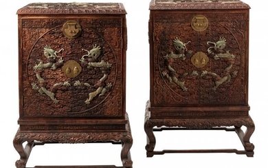 61075: A Pair of Chinese Hardstone Set Carved Wood Cabi
