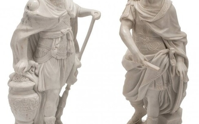 61075: Two Italian Carved Carrara Marble Figures of Rom