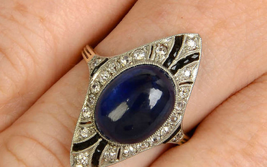 A sapphire cabochon and diamond dress ring, with calibre-cut sapphire highlights.