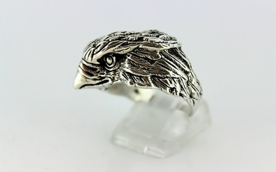 925 Silver - Vintage sterling silver men's ring in the shape of a hawk's head