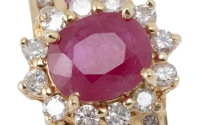 A 14CT GOLD RUBY AND DIAMOND RING; centring an oval ruby of approx. 1.00ct surrounded by 12 round brilliant cut diamonds to shoulder...