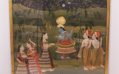 A 19TH-20TH CENTURY FRAMED INDIAN PAINTING ON TEXTILE