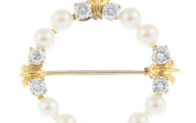 A 9ct gold diamond and cultured pearl brooch.