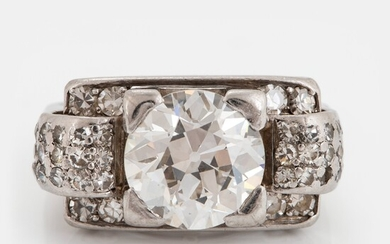 A CF Carlman 18K white gold ring set with an old-cut diamond weight ca 2.10 cts quality ca H/I vs