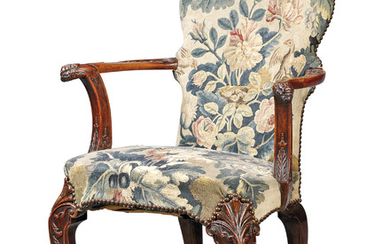 A CHINESE EXPORT PADOUK OPEN ARMCHAIR, CIRCA 1730, ASSEMBLED IN ENGLAND
