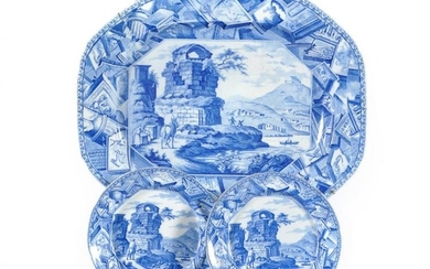 A C.J. Mason & Co. shaped octagonal Cambrian Argil meat dish printed with the 'Classical Landscape' pattern