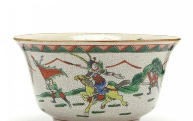 A Chinese Crackle Glaze Warriors Bowl