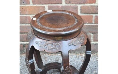 A Chinese carved hardwood jardiniere stand, 45.5cm high....